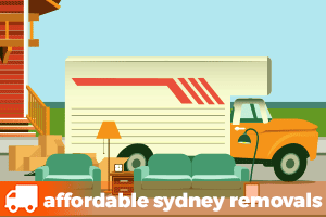 an illustration of a removalist truck with furniture to load