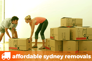 a young couple dragging a cardboard removalist box near a big pile of more moving boxes